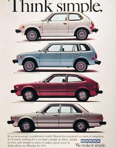 北米ホンダ1980年の広告 Think simple.       沼畑直樹